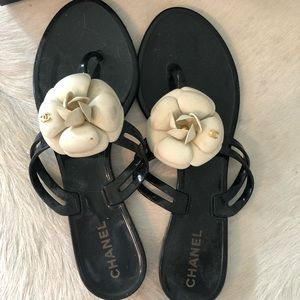 Authentic Chanel Camellia Sandal